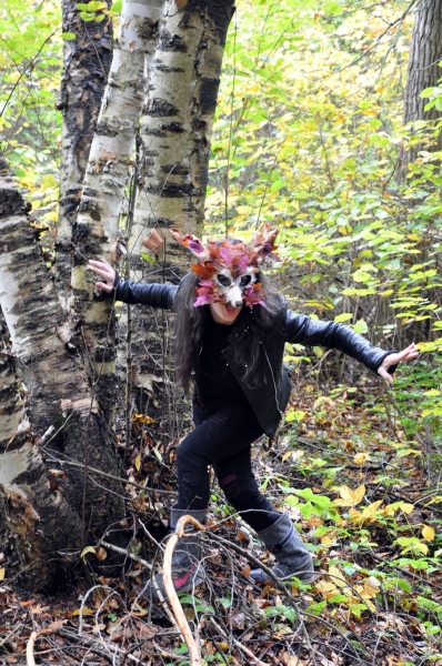 Land-based fox mask by Alexandra Simpson, Animacy Theatre Collective for Lisa Hamalainen's theatrical nature walk on Manitoulin Island.