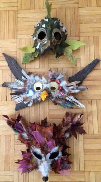 Land-based masks by Alexandra Simpson, Animacy Theatre Collective for Lisa Hamalainen's theatrical nature walk on Manitoulin Island.