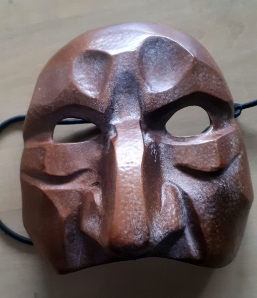 Leather mask by Alexandra Simpson. Sartori International mask workshop, 2019.