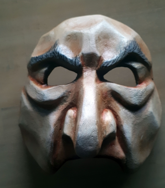 Papier- mache mask by Alexandra Simpson. Sartori International mask workshop, 2019.