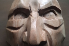 Wood mask by Alexandra Simpson. Sartori International mask workshop, 2019.